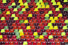 Stadium empty tribune. Detail with empty colored sports arena tribunes on a football stadium Stock Photography
