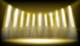 Illuminated stage on the stadium. Vector illustration. vector illustration