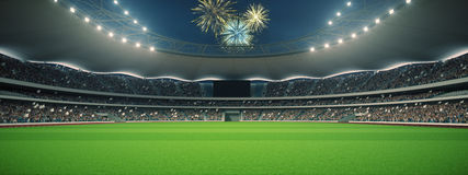 Stadium with fans the night before the match. 3d rendering. Stadium with fans the night before the match Royalty Free Stock Image