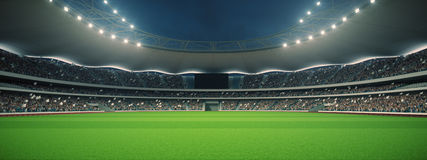 Stadium with fans the night before the match. 3d rendering. Stadium with fans the night before the match Royalty Free Stock Photos