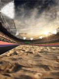 Stadium and fans. Track for jumping. Sand field. 3D illustration. Stadium and fans. Track for jumping. Sand field. Photorealistic 3D illustration. wide angle royalty free illustration