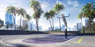 Stadium and fans. Track for jumping. Sand field. 3D illustration. Stadium and fans. Track for jumping. Sand field. Photorealistic 3D illustration. wide angle stock illustration