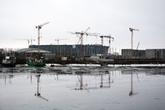 Stadium for FC Zenit under construction Royalty Free Stock Photography