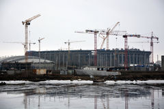 Stadium for FC Zenit under construction Stock Photography