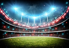 Stadium with fireworks 3d Stock Photography