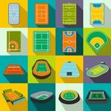Stadium flat icons set stock illustration