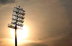 Stadium Floodlight. At setting sun Royalty Free Stock Images