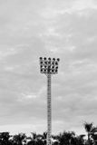 Stadium floodlight tower with reflectors. In stadium Royalty Free Stock Photography