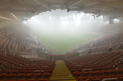 Stadium in the fog. Royalty Free Stock Photography