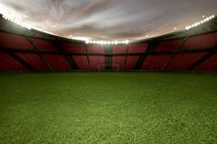 Free Stadium Football With Green Grass And Empty Tribune Royalty Free Stock Photo - 114606255