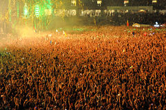 Stadium full with crowd of party people Royalty Free Stock Image