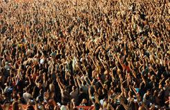 Stadium full with crowd of party people Royalty Free Stock Photography
