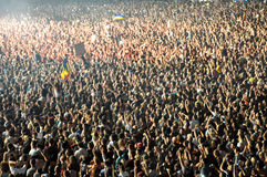 Stadium full with crowd of party people Royalty Free Stock Images
