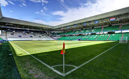 Stadium Geoffroy-Guichard in Saint-Etienne, France. Field of play without players and public Royalty Free Stock Photography