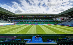 Stadium Geoffroy-Guichard in Saint-Etienne, France. Field of play without players and public Royalty Free Stock Images