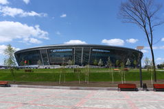 Stadium from glass and metal. The stadium is constructed of glass and metal for football Stock Image