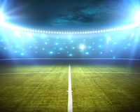 Stadium. Green stadium arena with spotlight Royalty Free Stock Photo