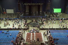Stadium hall after performance show concert. Lights down. empty stage. empty seats Stock Photos