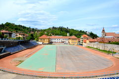Stadium of High School Sports Program in Brasov, Transylvania Royalty Free Stock Photo