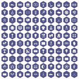 100 stadium icons hexagon purple. 100 stadium icons set in purple hexagon isolated vector illustration Stock Photos