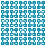 100 stadium icons sapphirine violet. 100 stadium icons set in sapphirine hexagon isolated vector illustration Royalty Free Stock Image