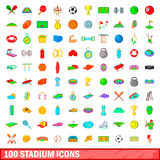 100 stadium icons set, cartoon style. 100 stadium icons set in cartoon style for any design vector illustration Royalty Free Stock Photos
