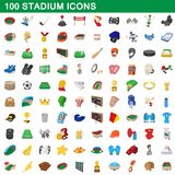 100 stadium icons set, cartoon style. 100 stadium icons set in cartoon style for any design illustration stock illustration