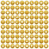 100 stadium icons set gold. 100 stadium icons set in gold circle isolated on white vector illustration Royalty Free Stock Images