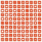 100 stadium icons set grunge orange. 100 stadium icons set in grunge style orange color isolated on white background vector illustration Royalty Free Stock Images