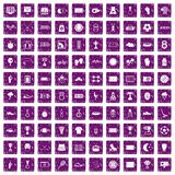 100 stadium icons set grunge purple. 100 stadium icons set in grunge style purple color isolated on white background vector illustration Stock Illustration