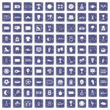 100 stadium icons set grunge sapphire. 100 stadium icons set in grunge style sapphire color isolated on white background vector illustration stock illustration