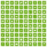 100 stadium icons set grunge green. 100 stadium icons set in grunge style green color isolated on white background vector illustration Royalty Free Stock Photography