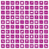 100 stadium icons set grunge pink. 100 stadium icons set in grunge style pink color isolated on white background vector illustration Royalty Free Stock Images