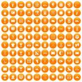100 stadium icons set orange. 100 stadium icons set in orange circle isolated on white vector illustration Royalty Free Stock Photos