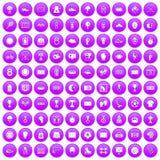 100 stadium icons set purple. 100 stadium icons set in purple circle isolated on white vector illustration Royalty Free Stock Photography