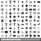 100 stadium icons set, simple style Royalty Free Stock Image