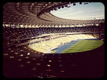 Stadium Kiev olempiiski sky empty stadium Sunday sun. Empty stadium in Kiev Ukraine Royalty Free Stock Photography