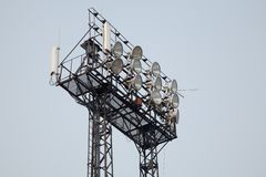 Stadium light and Cellular Antennas Stock Images