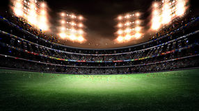 Stadium light 3d. The imaginary stadium is modelled and rendered Stock Photo