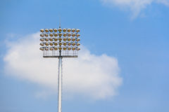 Stadium Light Poles. On Sky and cloud Stock Image