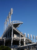 Stadium lights. Section of baseball stadium with light towers royalty free stock photography