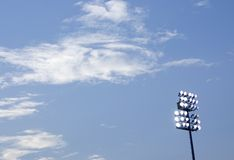 Stadium lights. Here is a picture of stadium lights with a nice blue sky backround Stock Photos