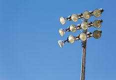 Stadium Lights. Big sport lights on light pole above stadium or athletic field royalty free stock photo