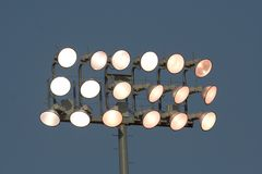 Stadium Lights. Illuminated lights in a stadium Stock Photography