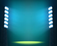 Stadium lights against dark Night sky background. Illustration Stock Photography