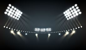 Stadium Lights Background. Stadium lights realistic background with sports and technology symbols vector illustration royalty free illustration