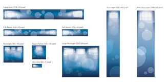 Stadium Lights Complete Banners Pack. With blue background in different sizes Stock Images