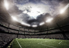 Stadium lights, 3d rendering. The imaginary stadium is modelled and rendered Stock Image