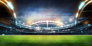 Stadium in lights. And flashes 3D rendering Royalty Free Stock Photography
