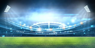Stadium in lights and flashes 3d. Royalty Free Stock Images